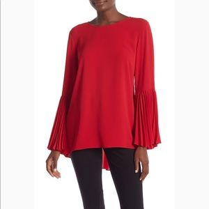 Vince Camuto | Pleated Bell Sleeve hi-Low Blouse M